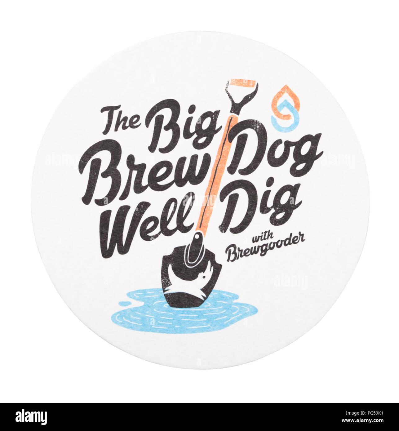 LONDON, UK - AUGUST 22, 2018: Brewdog paper beer beermat coaster isolated on white background. - Stock Image