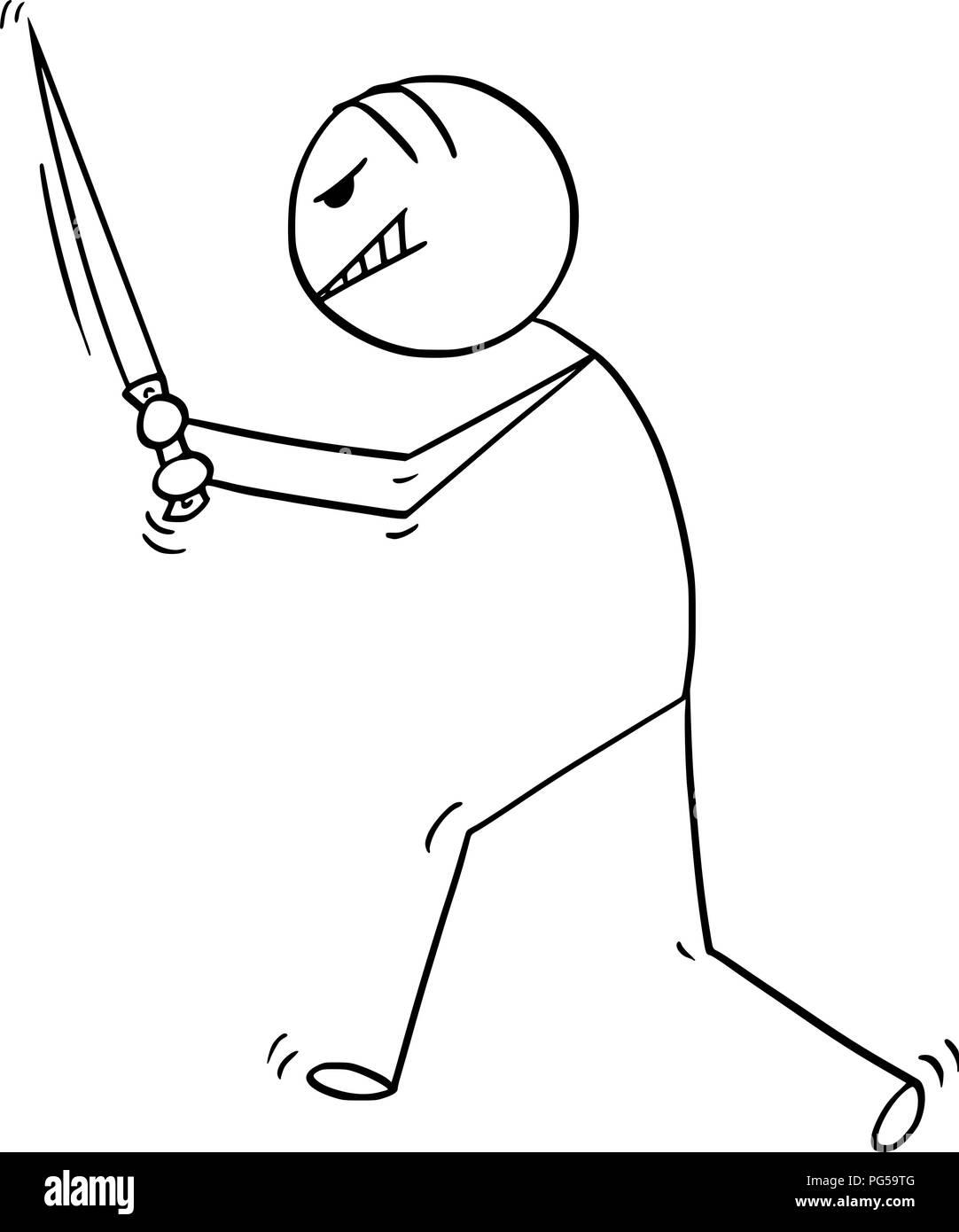 Cartoon of Insane Man or Maniac Killer Walking With Big Knife - Stock Image