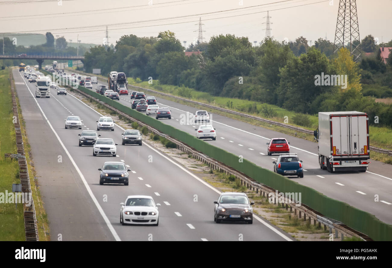 Traffic on the Zagreb highway bypass in Zagreb, Croatia. Stock Photo
