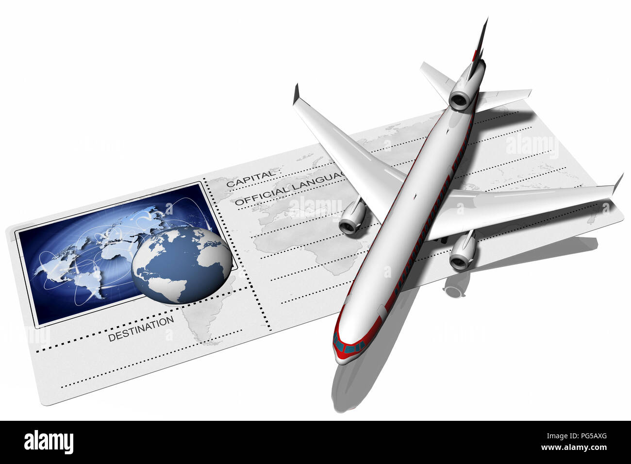 3D illustration. Airplane resting on airfare depicted with the world and its possible connections. - Stock Image