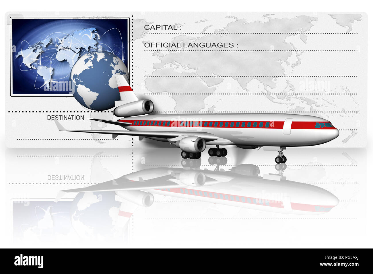 3D illustration;Airplane front of airfare depicted with the world and its possible connections. - Stock Image