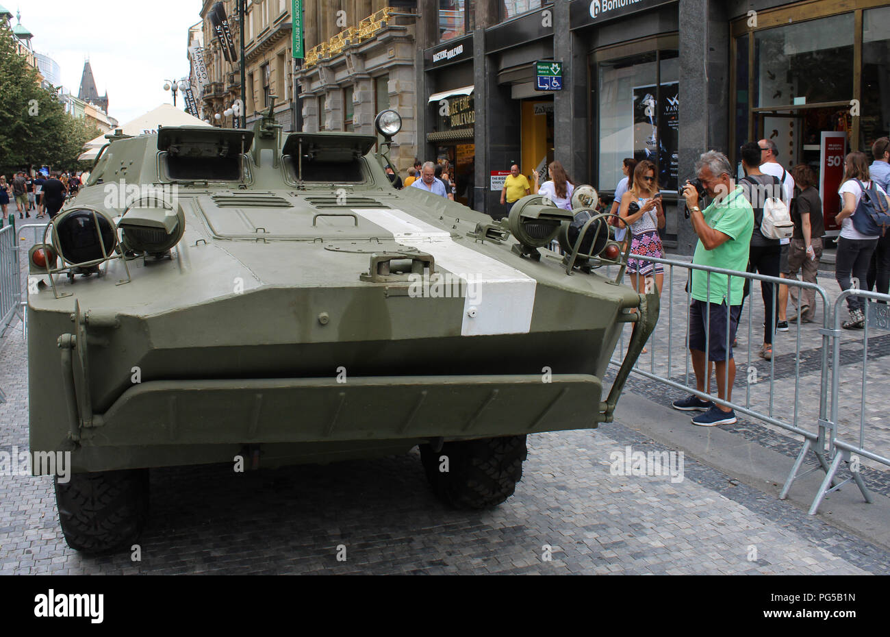 A Soviet Army's Combat Reconnaissance/Patrol Vehicle is exhibited in Prague, Czech Republic, on August 21, 2018, on the occasion of the 50th anniversa - Stock Image