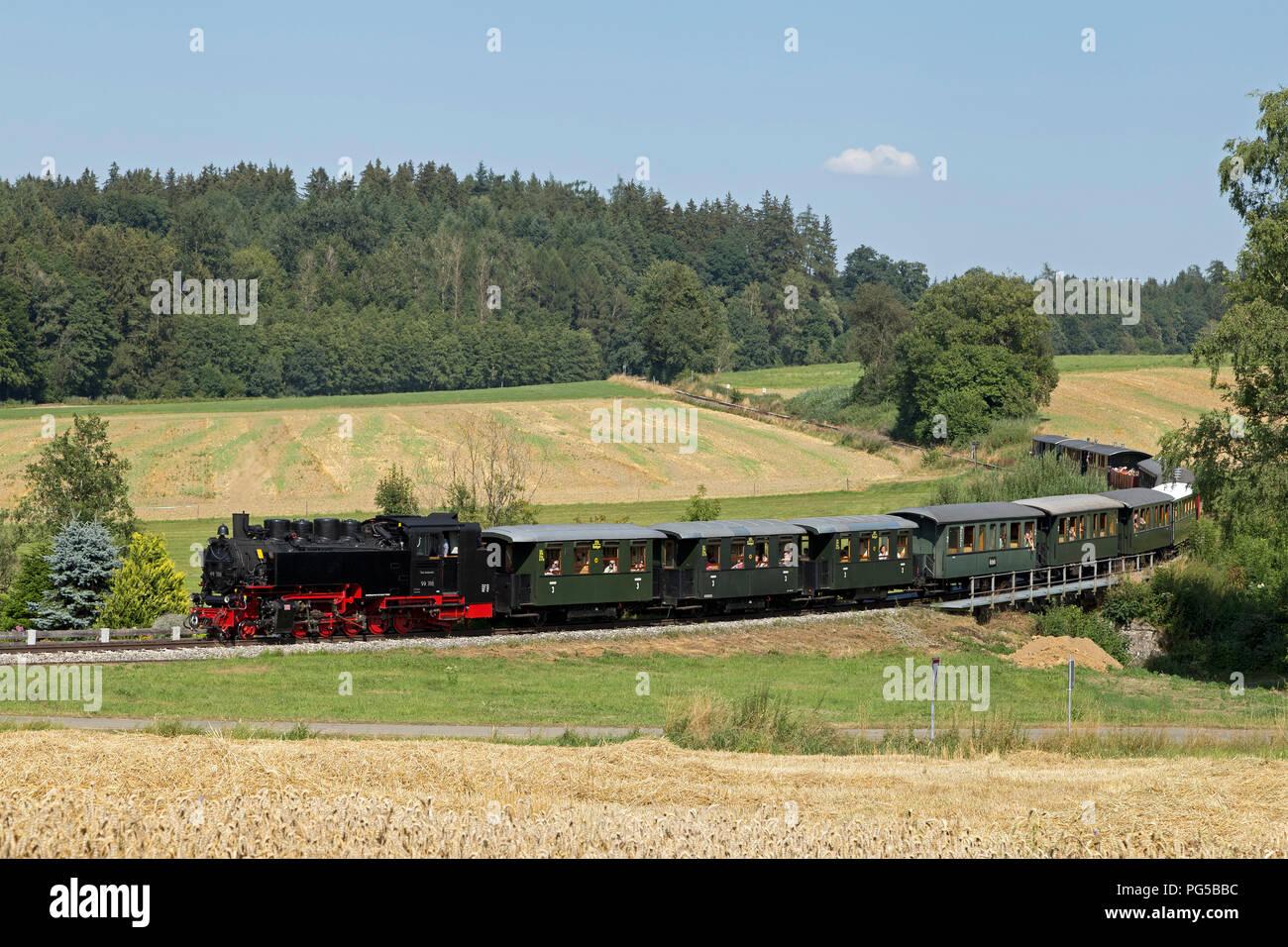 narrow-gauge railway Oechsle, Wennedach, Baden-Wuerttemberg, Germany - Stock Image