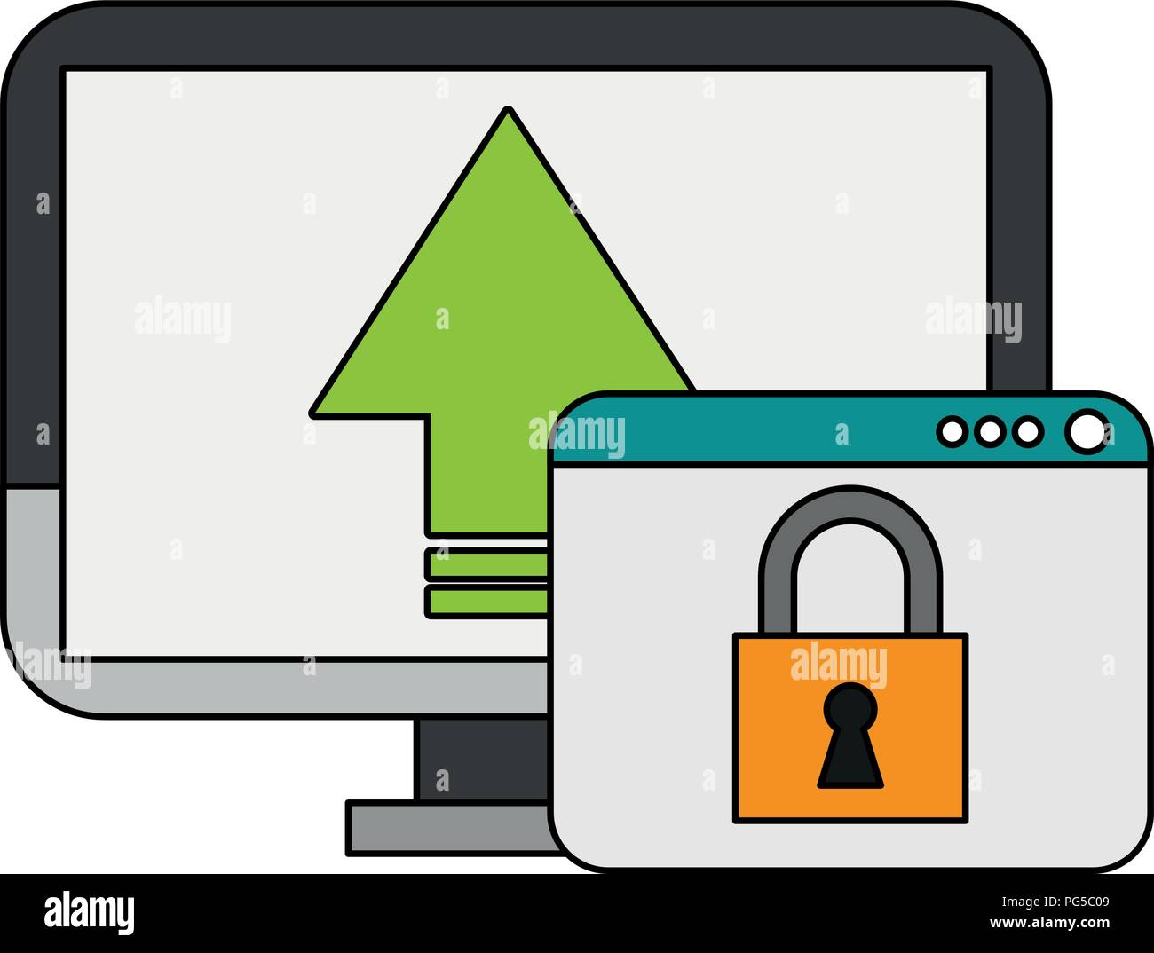 PC with secure cloud - Stock Vector