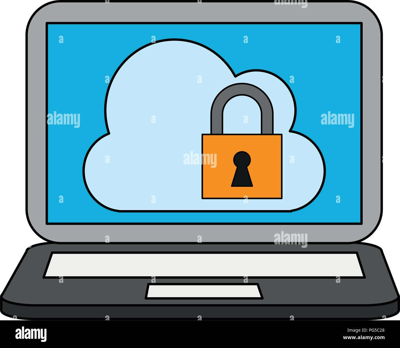 Laptop with secure cloud - Stock Vector