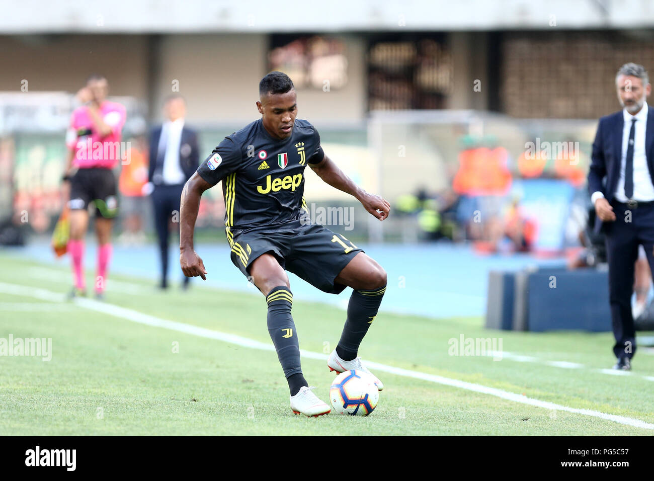Alex Sandro  of Juventus FC in action during the Serie A football match between Ac Chievo Verona and Juventus Fc. - Stock Image