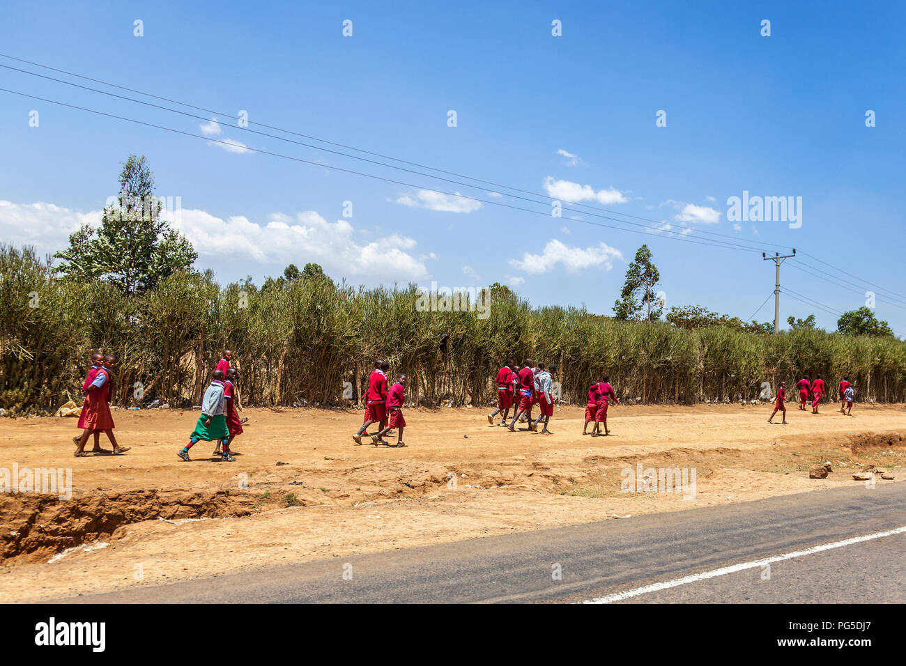 African School children on their way to school - Stock Image