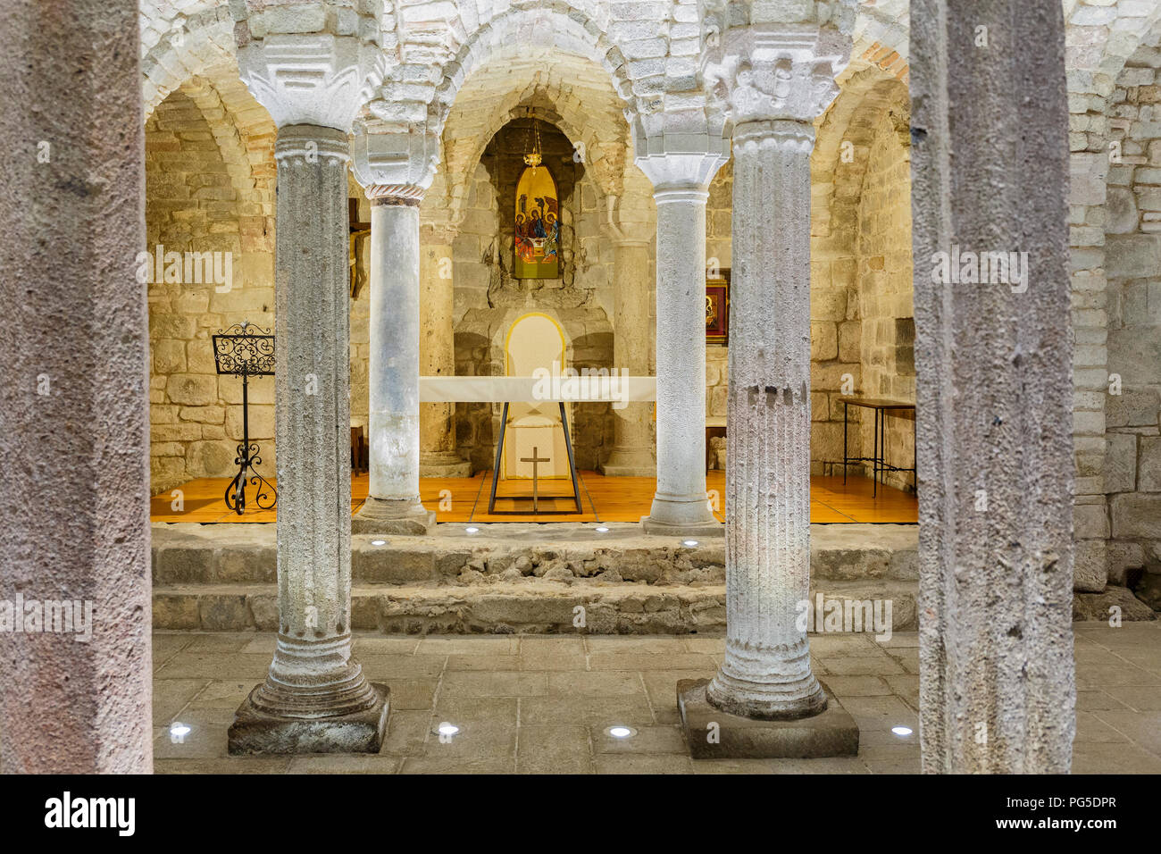 Altar in the old crypt - Stock Image