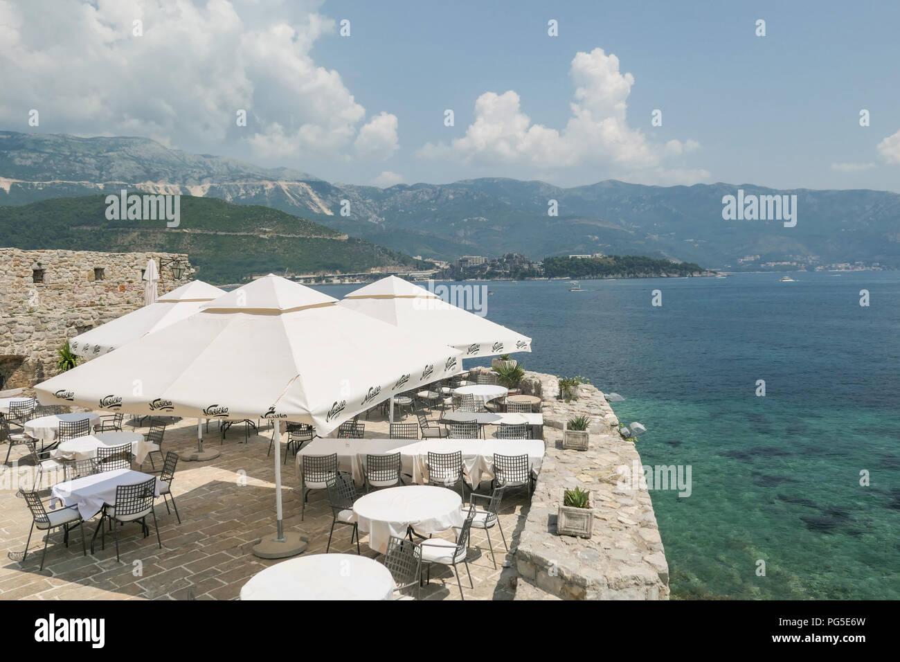 Citadela restaurant overlooking the Adriatic Sea, Budva Citadel, Budva, Montenegro, Europe - Stock Image