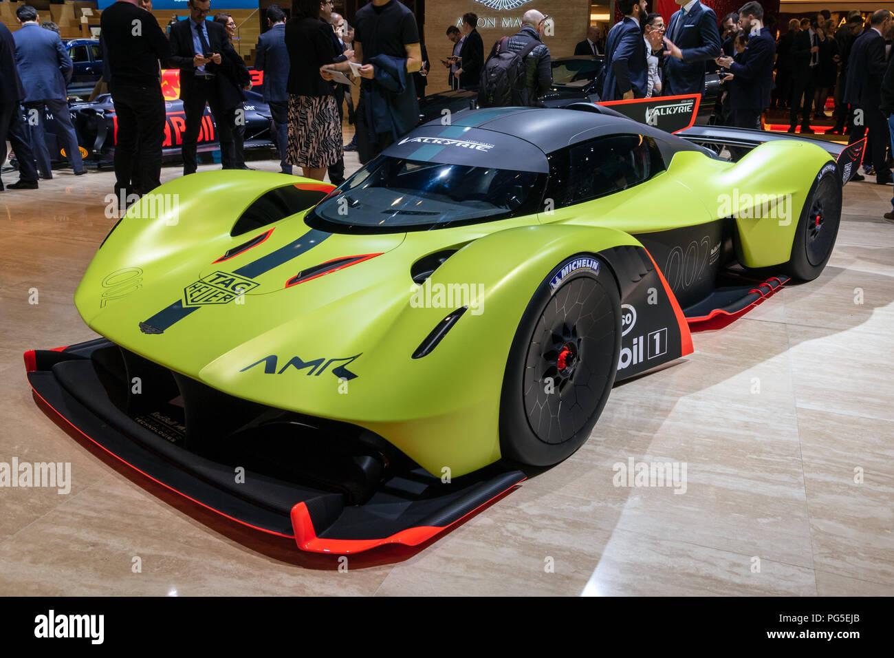 GENEVA, SWITZERLAND - MARCH 6, 2018: Aston Martin Valkyrie AMR Pro sports car showcased at the 88th Geneva International Motor Show. - Stock Image
