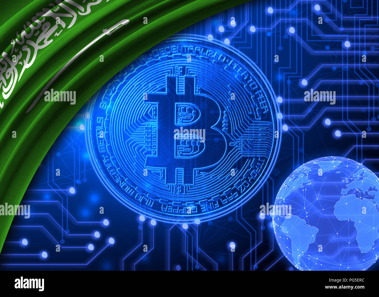 Flag of Saudi Arabia is shown against the background of crypto currency bitcoin. Global world crypto currency-bitcoin. Shows the current exchange rate - Stock Image