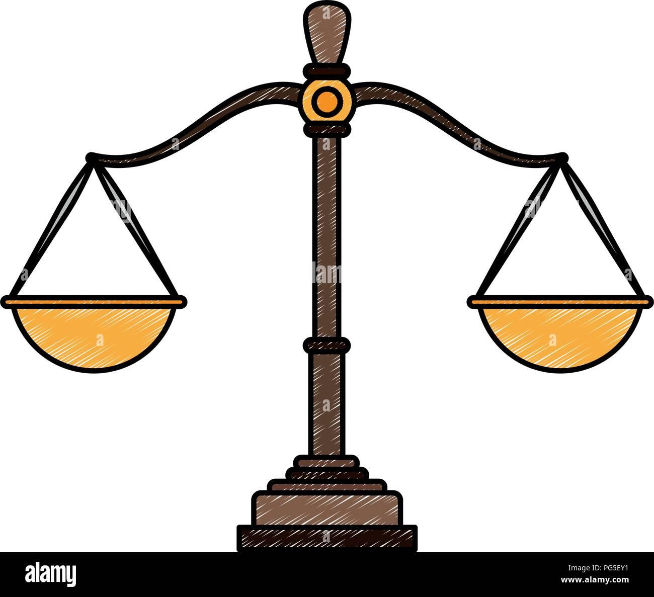Justice balance symbol scribble - Stock Vector