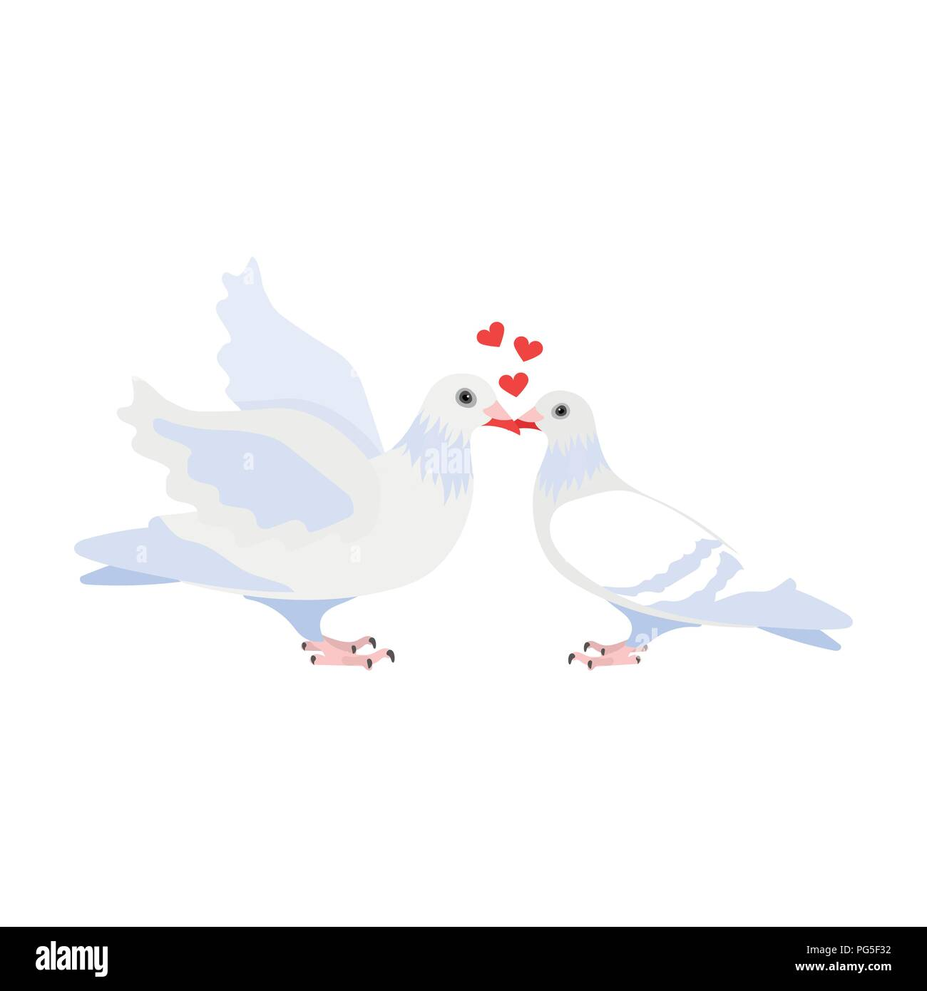 Two Funny Cartoon Pigeons Illustration White Doves With A Heart A