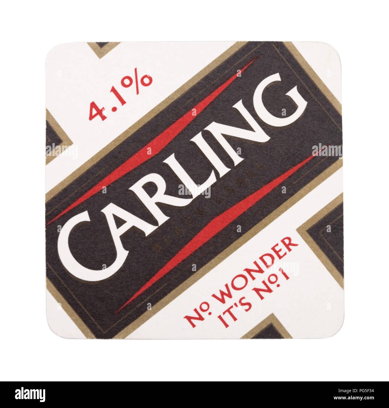 LONDON, UK - AUGUST 22, 2018: Carling lager paper beer beermat coaster isolated on white background. - Stock Image