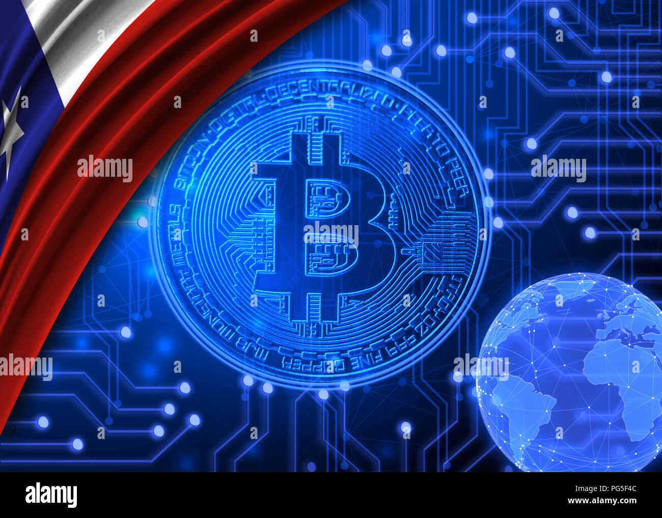 Flag of Chile is shown against the background of crypto currency bitcoin. Global world crypto currency-bitcoin. Shows the current exchange rate, fluct Stock Photo