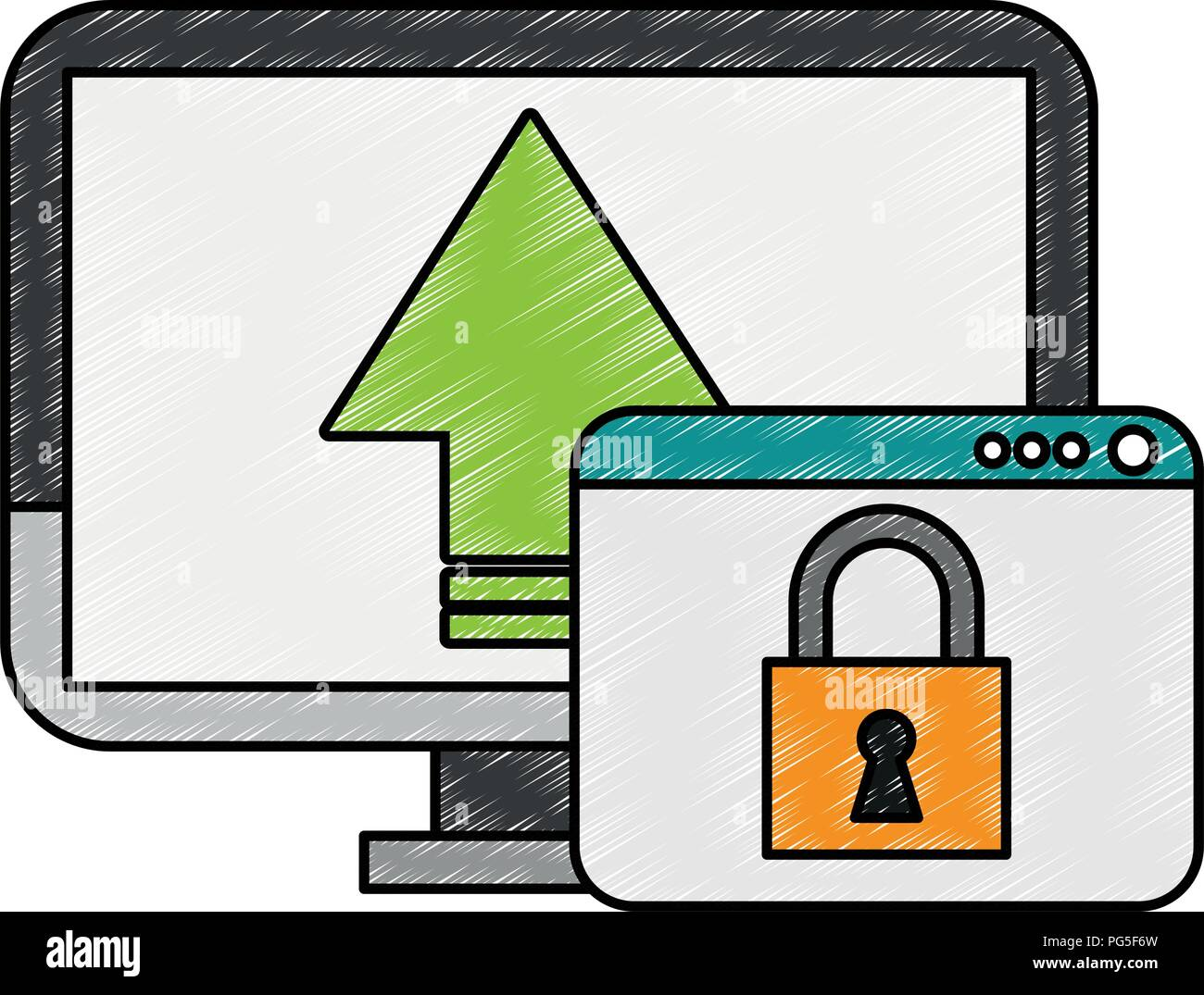 PC with secure cloud scribble - Stock Image