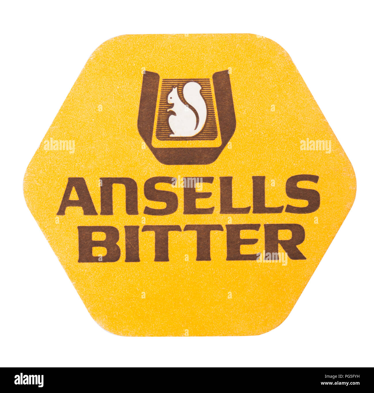 LONDON, UK - AUGUST 22, 2018: Ansells Bitter paper beer beermat coaster isolated on white background. - Stock Image