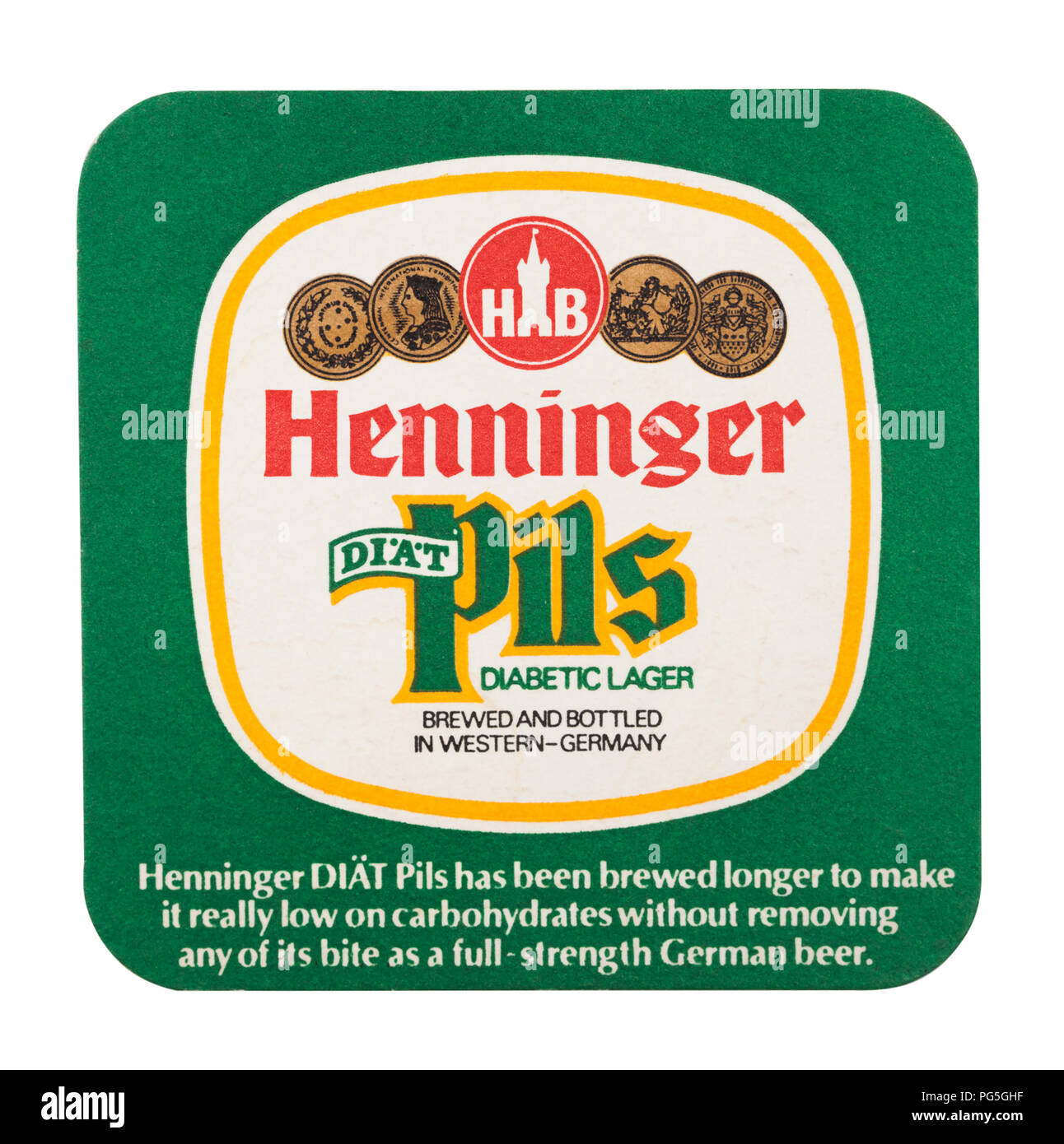 LONDON, UK - AUGUST 22, 2018: Henninger Pils paper beer beermat coaster isolated on white background. - Stock Image