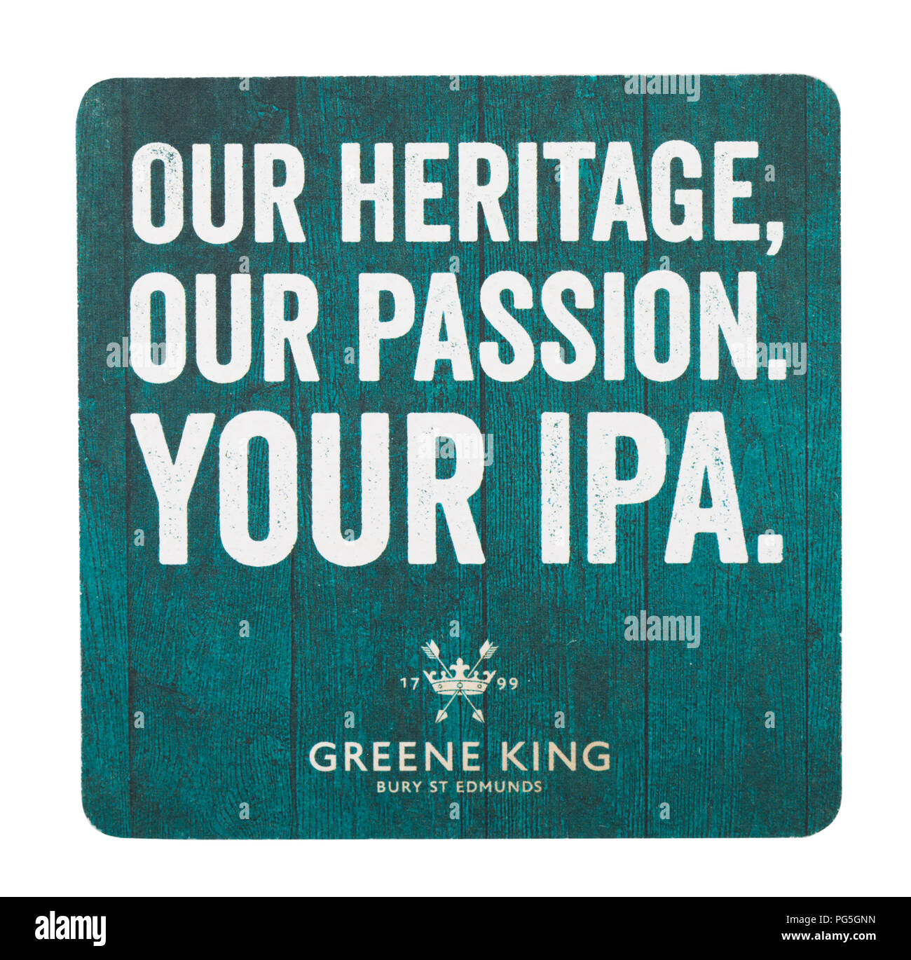 LONDON, UK - AUGUST 22, 2018: Green King India Pale Ale paper beer beermat coaster isolated on white background. - Stock Image