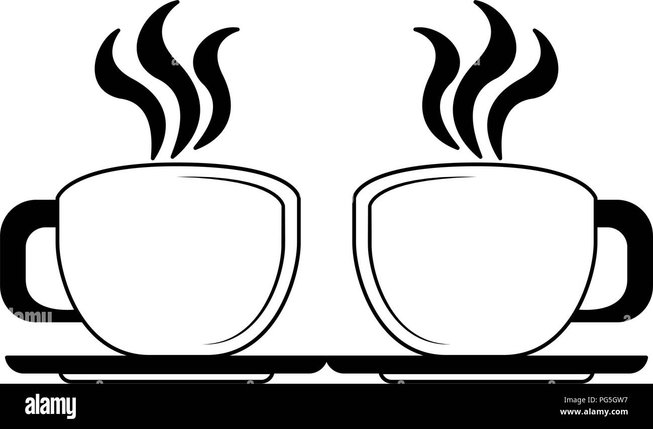 Hot coffee cups in black and white Stock Vector
