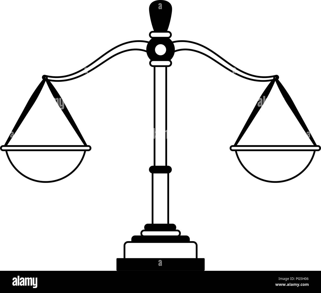 Justice balance symbol in black and white - Stock Image