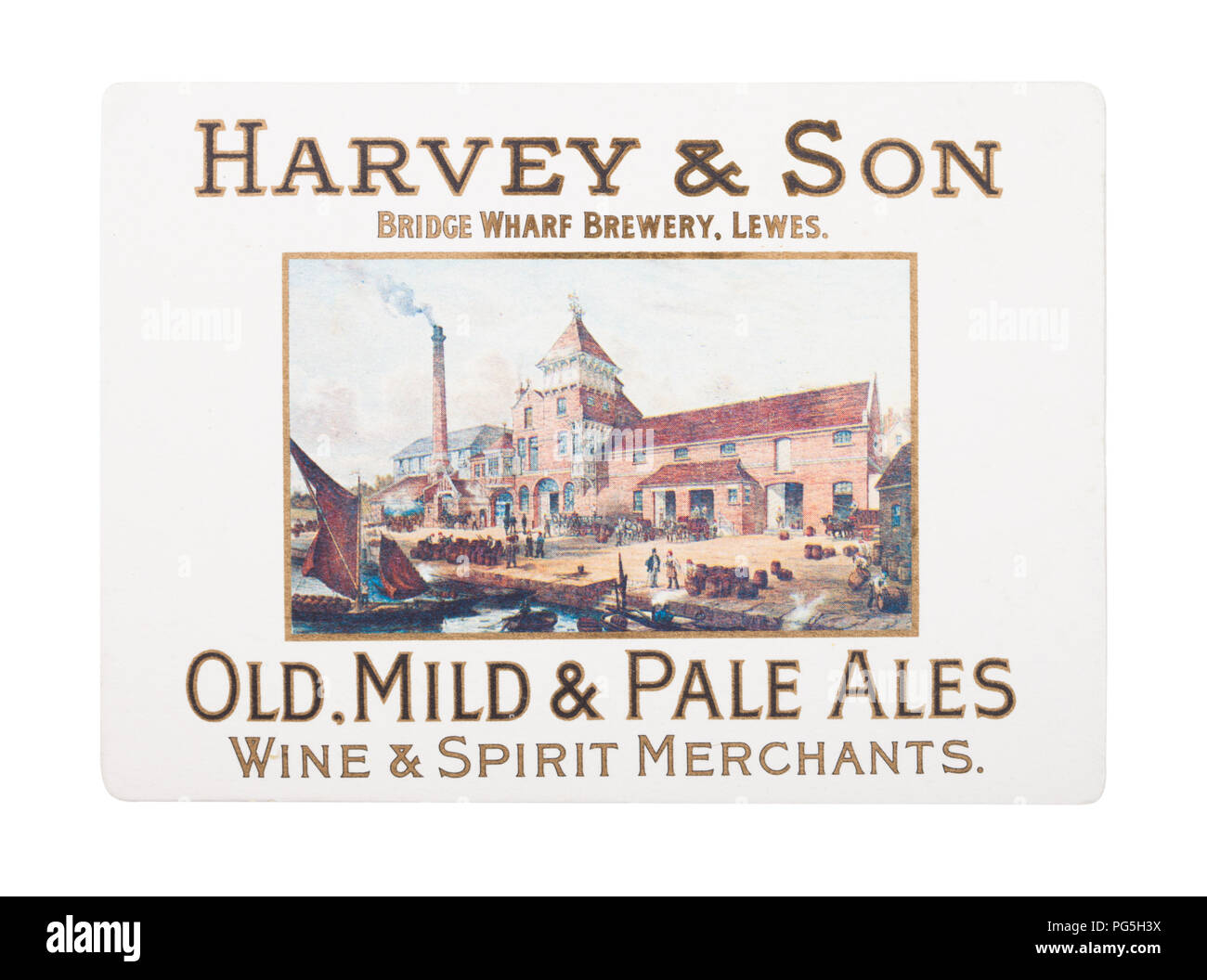 LONDON, UK - AUGUST 22, 2018: Harvey & Son Old Mild & Pale Ale paper beer beermat coaster isolated on white background. - Stock Image