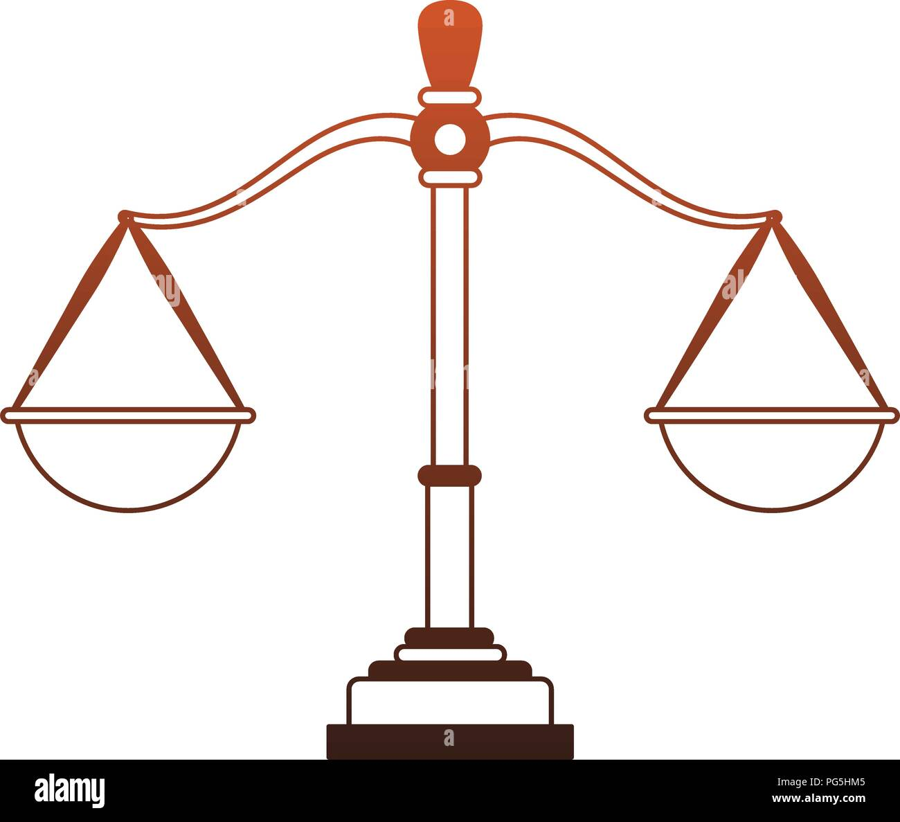 Justice balance symbol red lines - Stock Vector