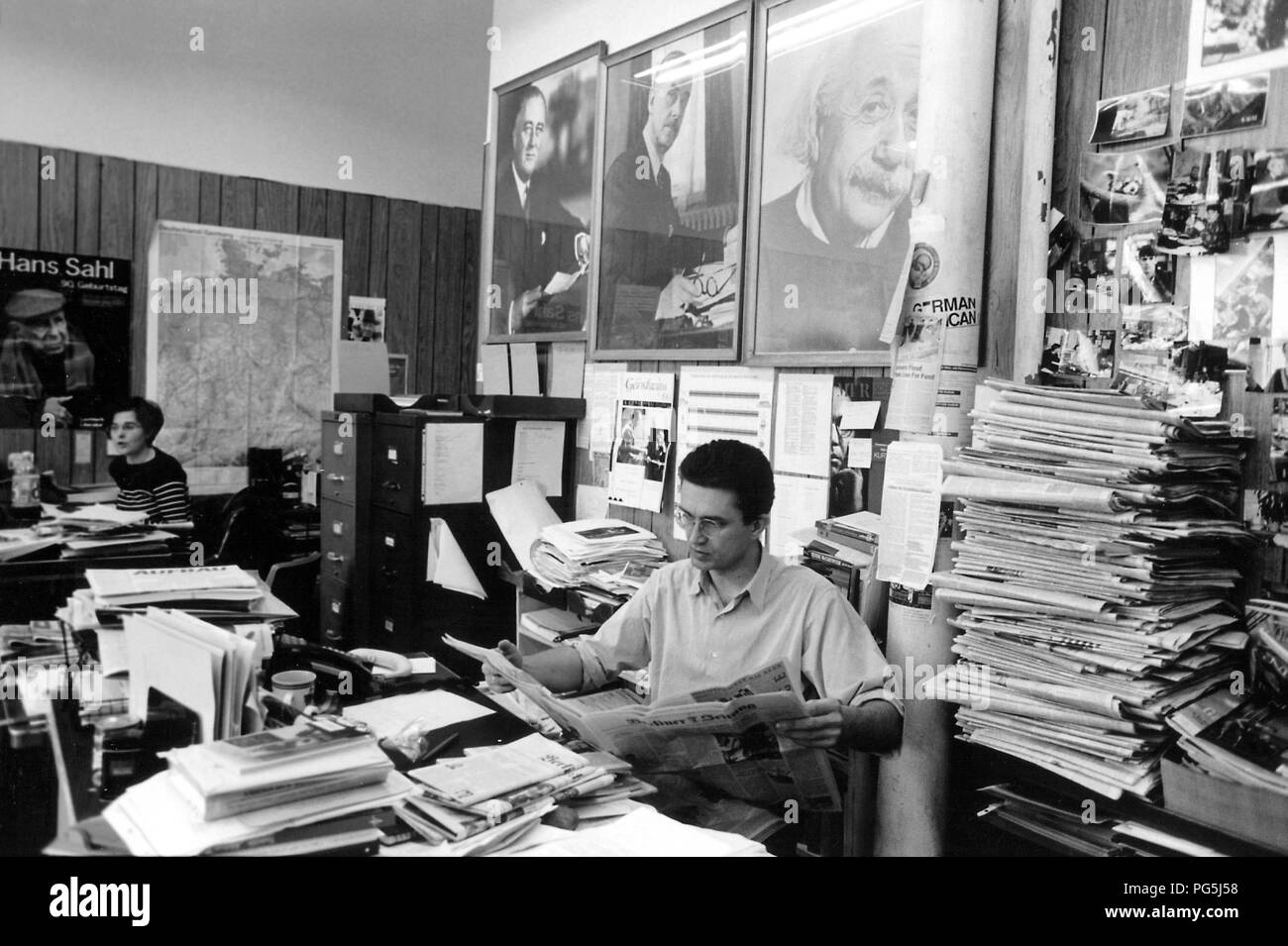 Editor andreas fink in the editorial office of the newspaper structure in new york