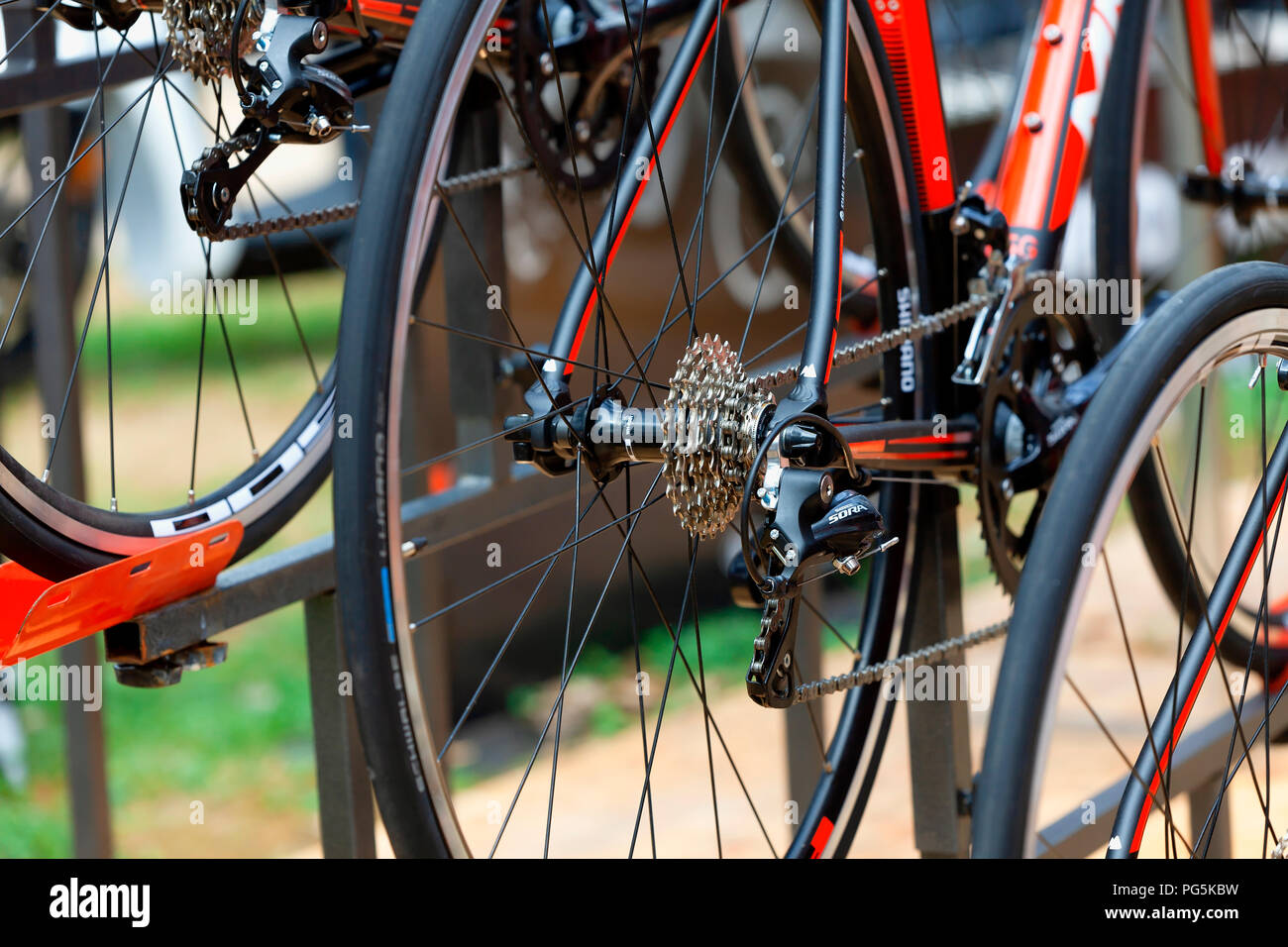 Shimano Sora model bicycle gearbox exhibited at the Fair Trade of Gijon 2018. August 18, 2018. Spain. - Stock Image