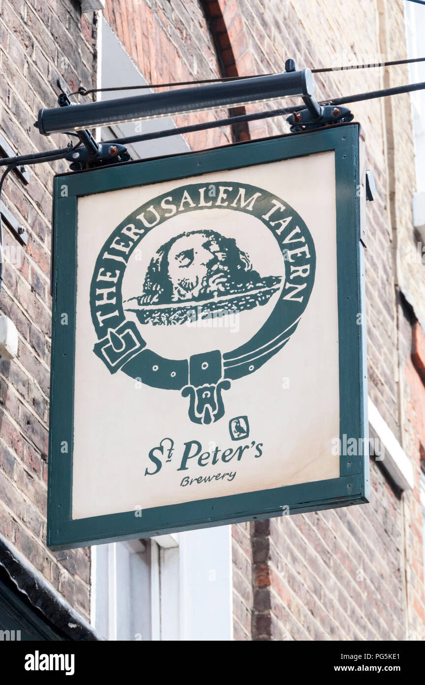 Pub sign for The Jerusalem Tavern and St Peter's Brewery in Clerkenwell Stock Photo