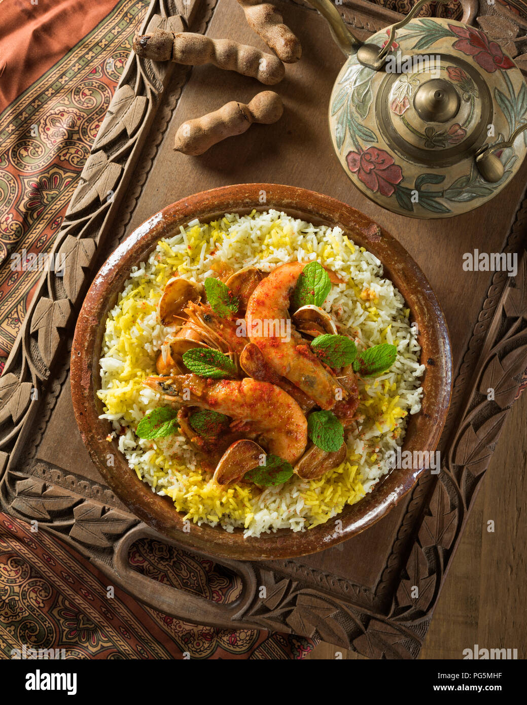 Ghalieh Maygu. Persian Gulf style shrimp with herbs and tamarind - Stock Image