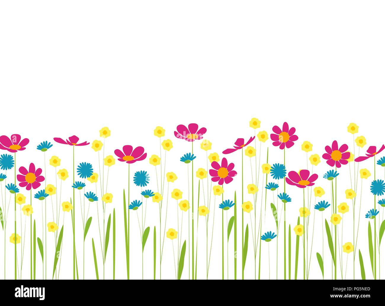 meadow with colorful flowers cartoon Stock Vector Art