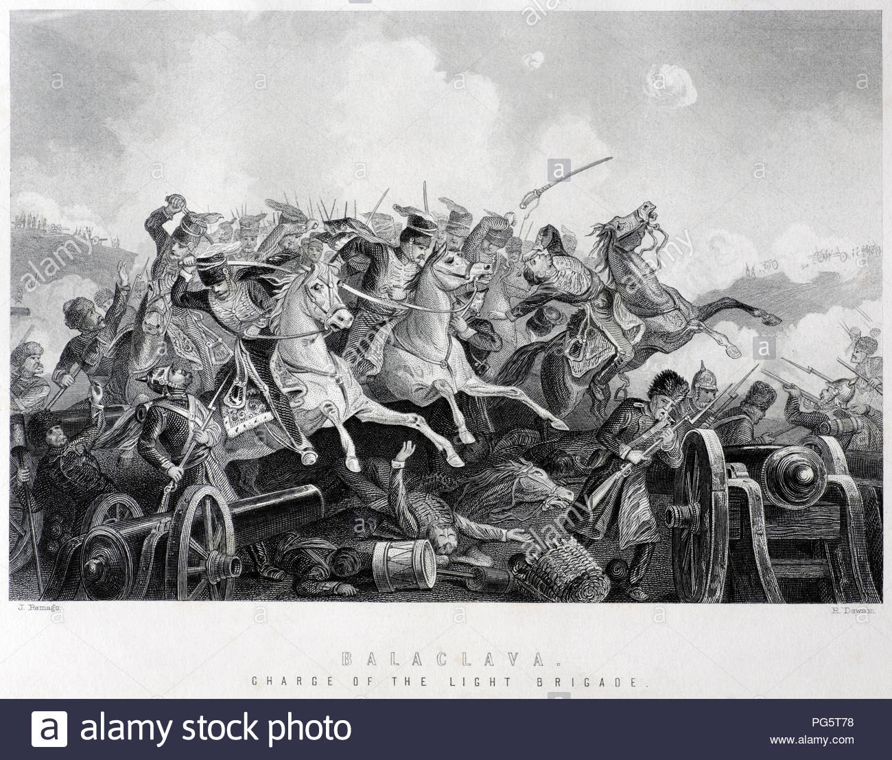 The Charge of the Light Brigade was a charge of British light cavalry led by Lord Cardigan against Russian forces during the Battle of Balaclava on 25th October 1854 in the Crimean War. Illustration from 1890. - Stock Image
