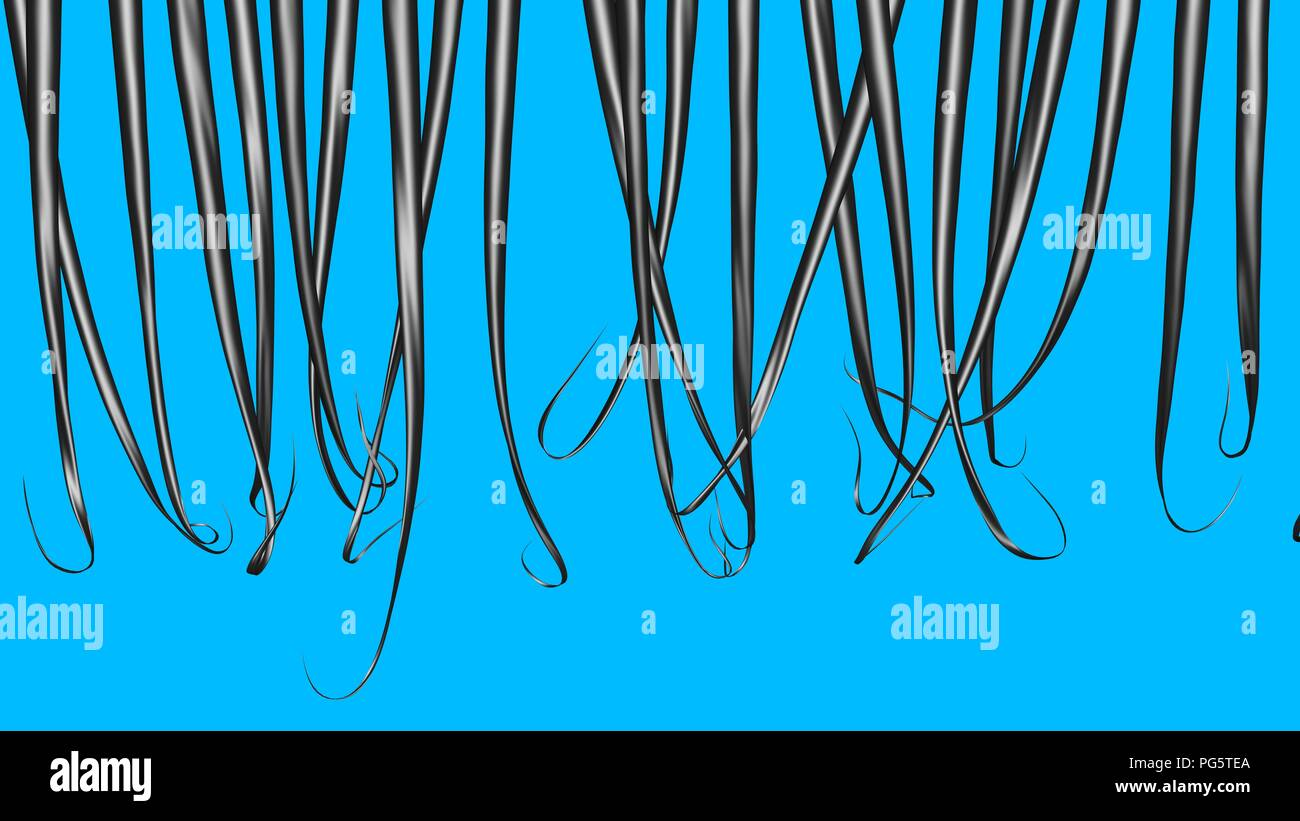 Long dark hair Solid blue background  3d render Stock Photo