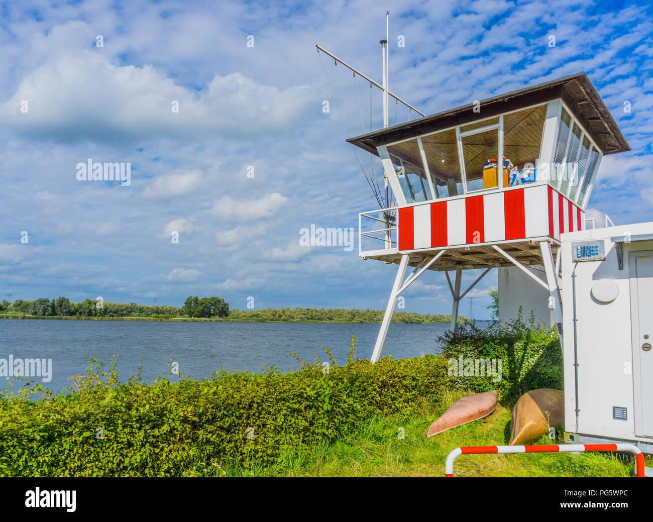 lifegaurd house at a river landscape Stock Photo
