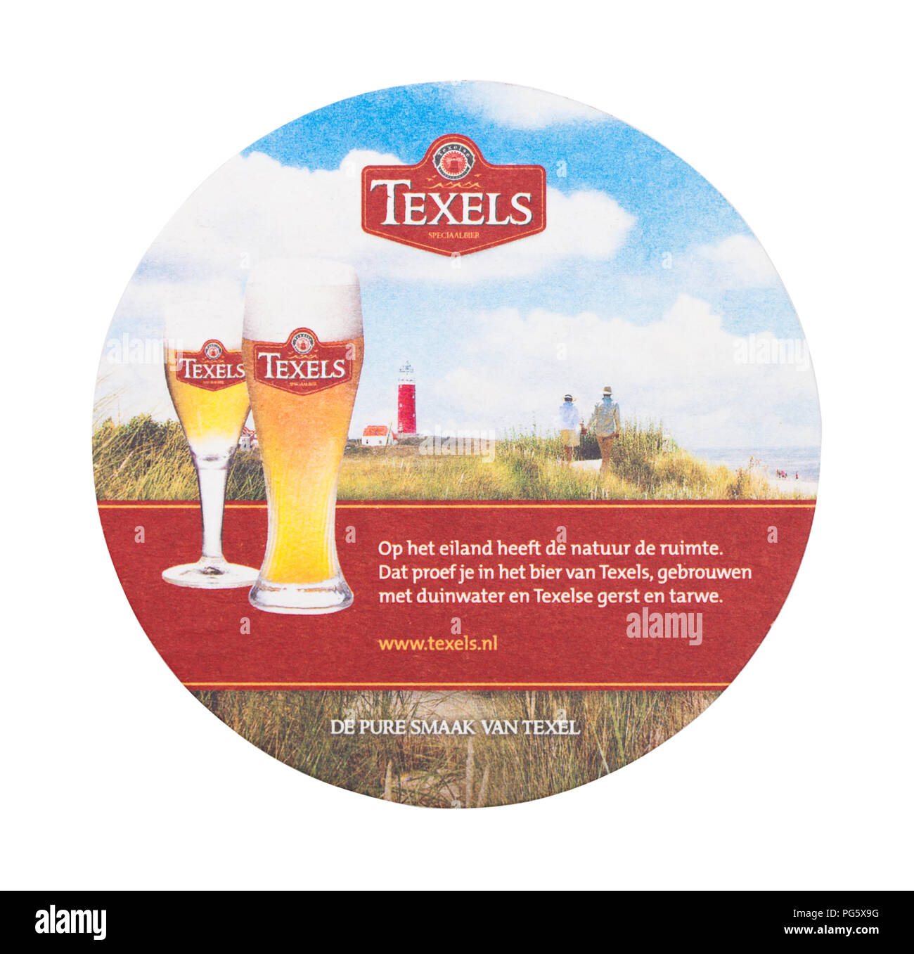 LONDON, UK - AUGUST 22, 2018: Texels paper beer beermat coaster isolated on white background. - Stock Image