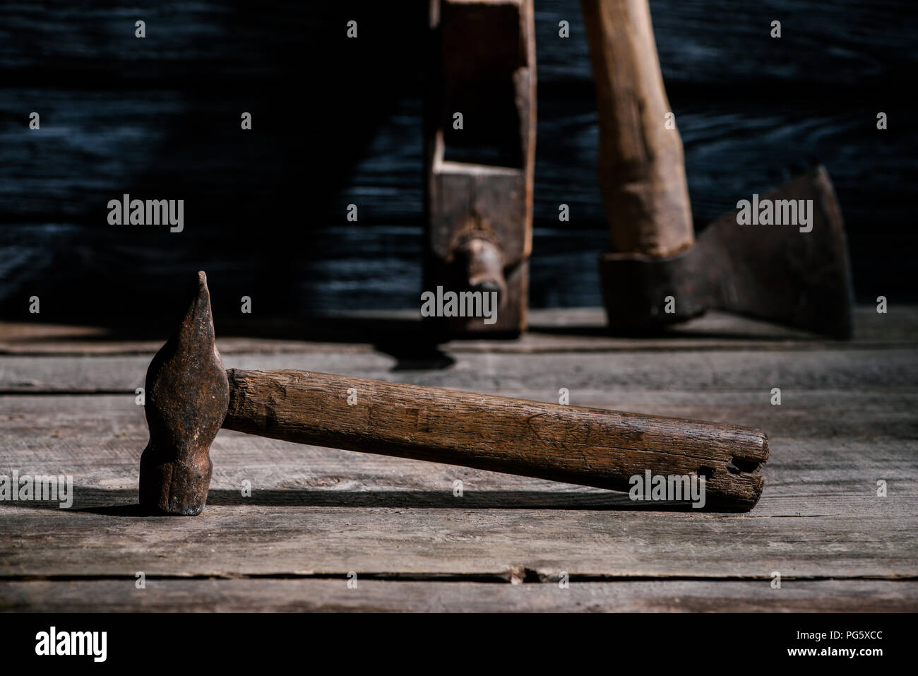 selective focus of vintage carpentry tools arranged on wooden tabletop - Stock Image