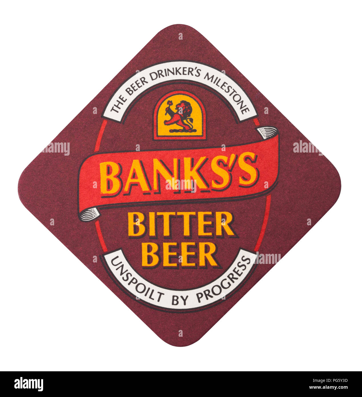 LONDON, UK - AUGUST 22, 2018: Banks's Bitter paper beer beermat coaster isolated on white background. - Stock Image