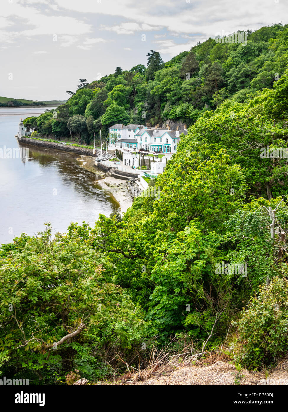 Portmeirion Hotel nestled on the Dwyryd River, at Portmeirion, created by Clough Williams-Ellis, Gwynedd, North Wales, UK. Stock Photo