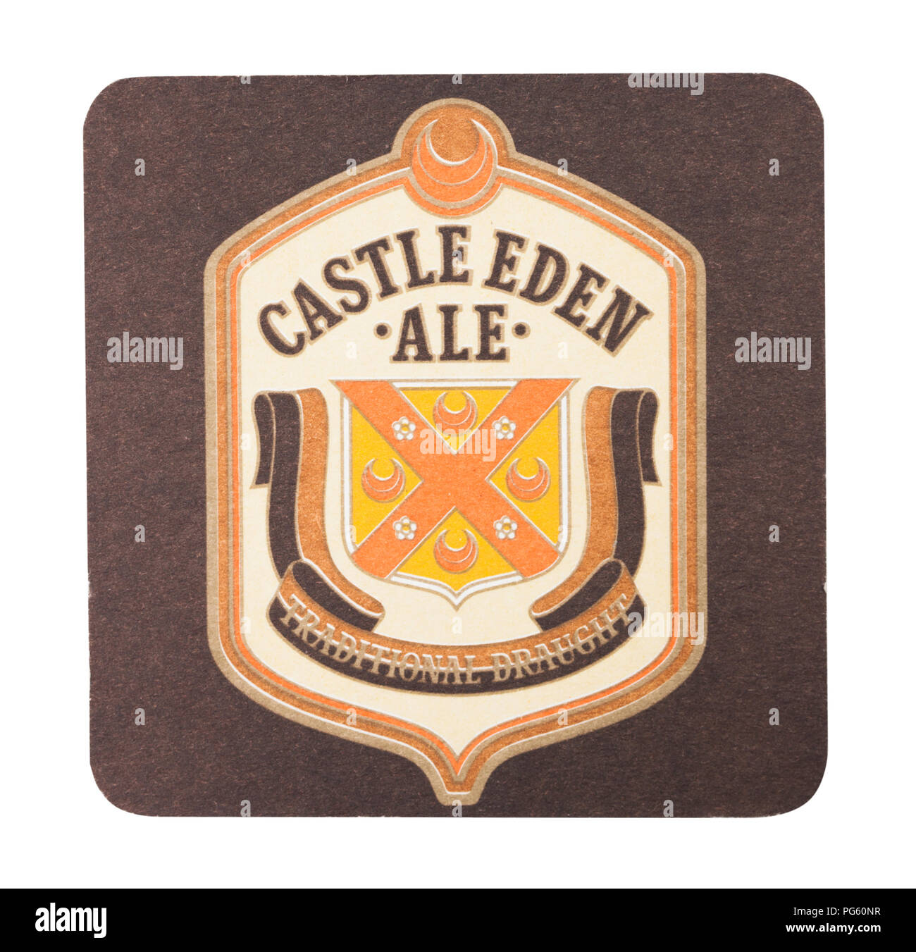 LONDON, UK - AUGUST 22, 2018: Castle Eden Ale paper beer beermat coaster isolated on white background. - Stock Image