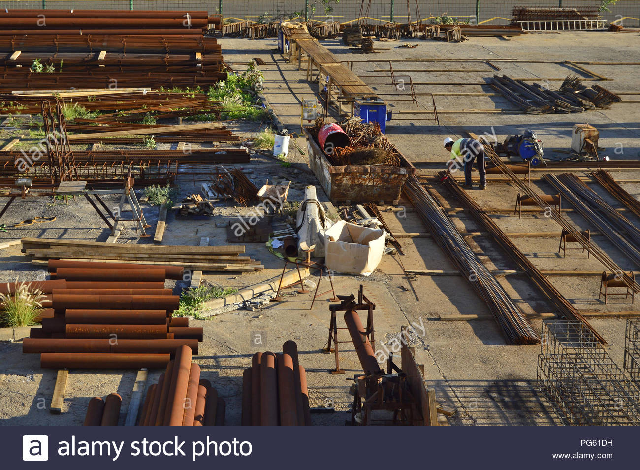 Construction site - reinforcement steel preparation in Santa Cruz de Tenerife Canary Islands Spain. - Stock Image