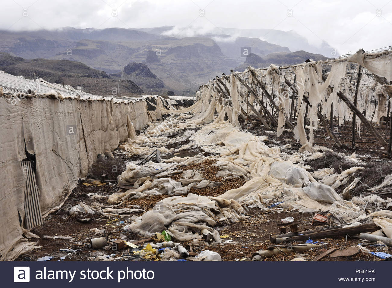 Abandoned broken greenhouse structures, plastic junk in Gran Canaria Canary Islands Macaronesia (Spain) - Stock Image