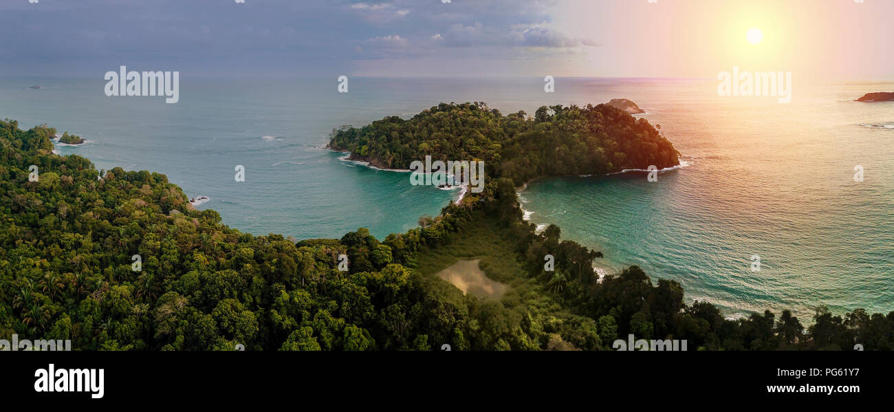 Sunset, Corcovado National Park, Osa Peninsula, Costa Rica. This image is shot using a drone. - Stock Image