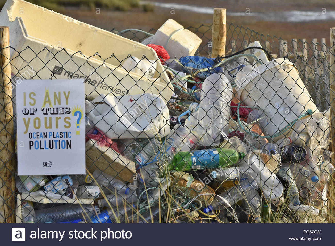 Plastic rubbish collected to raise awareness of environmental pollution, Olhao Algarve Southern Portugal Europe. - Stock Image