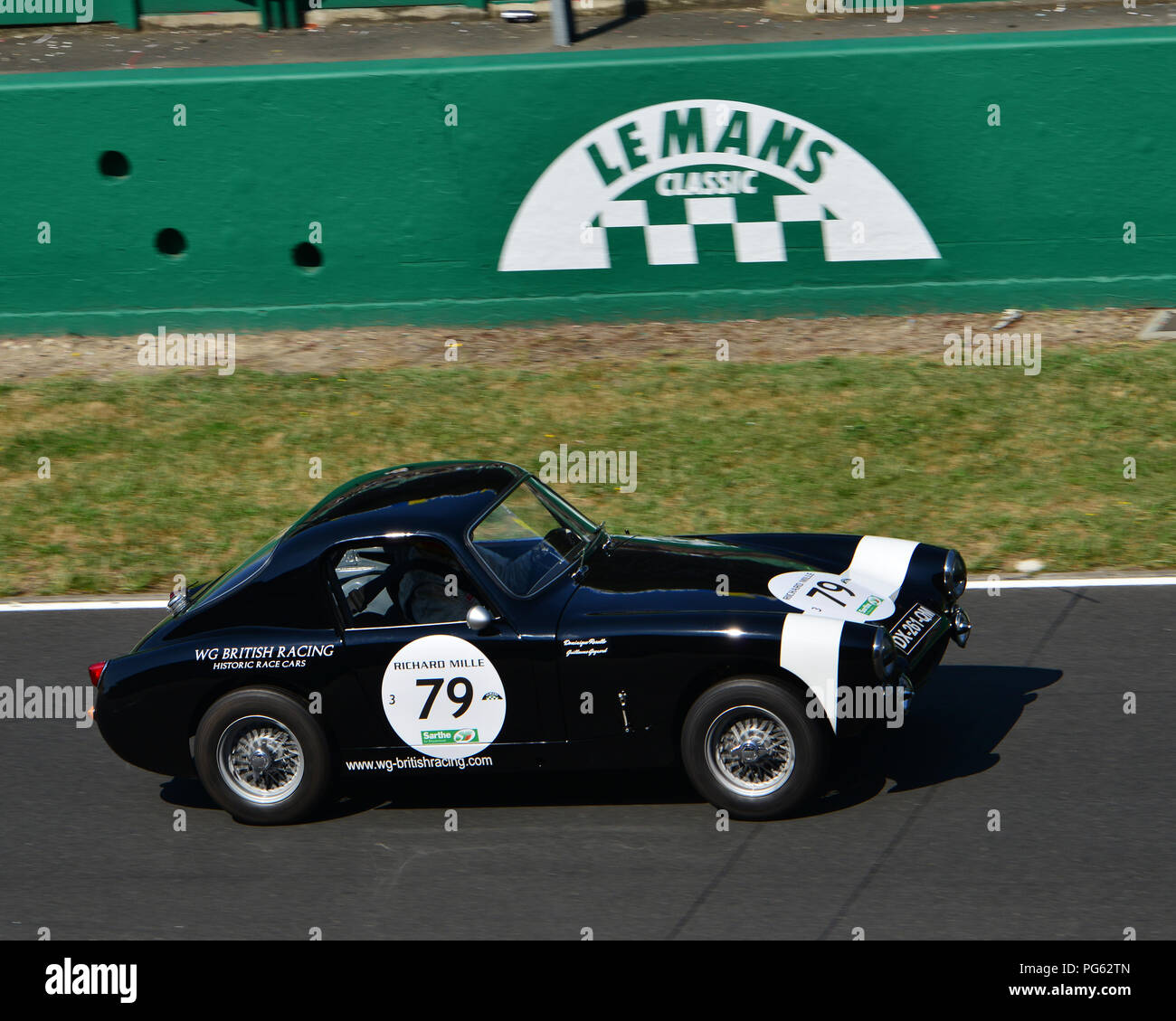 Dominique Rosello, Guillaume Gagnard, Austin Healey Sprite, Plateau 3, Grid 3, Le Mans Classic 2018, July 2018, Le Mans, France, circuit racing, Class - Stock Image
