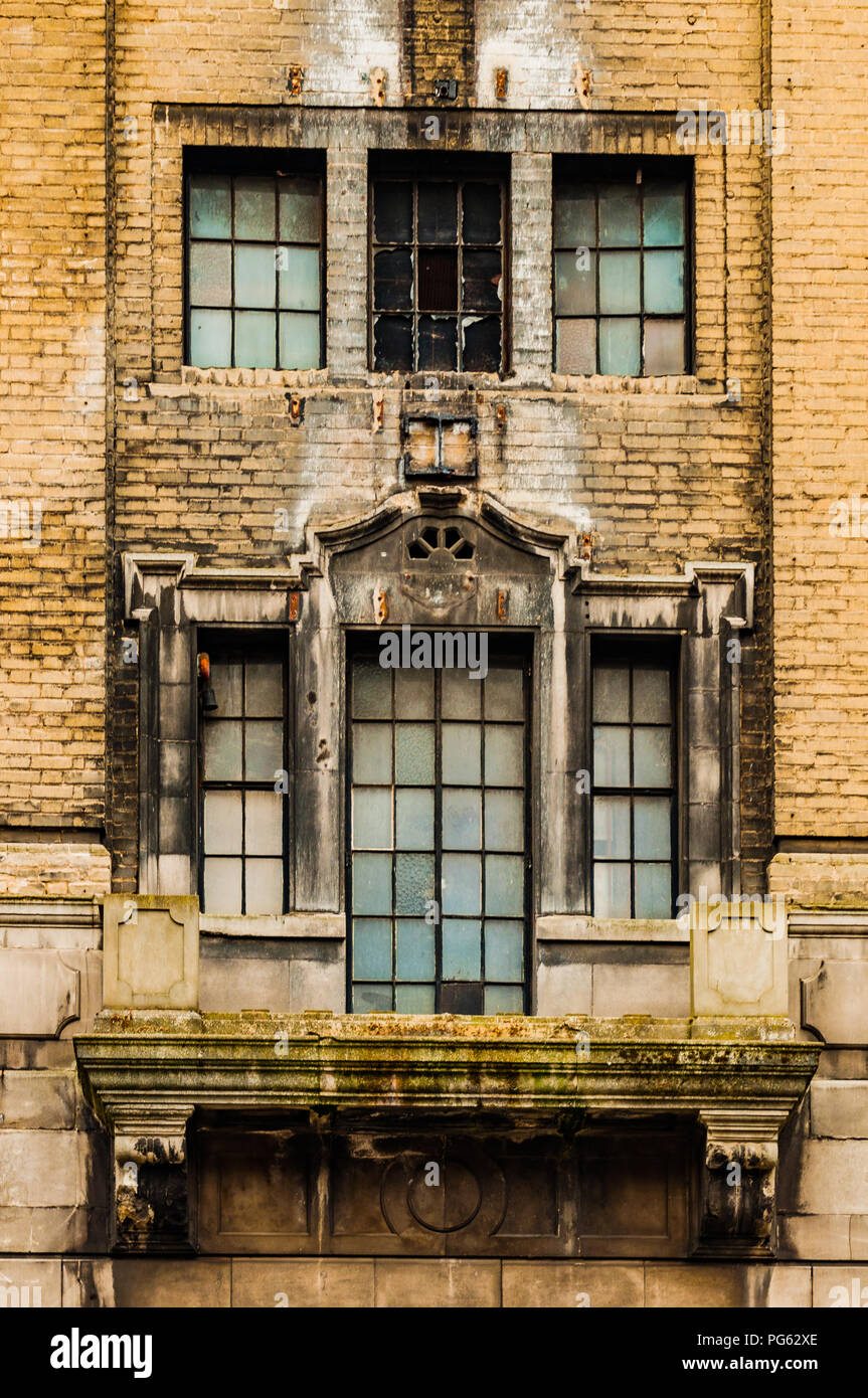 Broken stained windows at the old Odeon cinema in Newcastle, England, UK - Stock Image