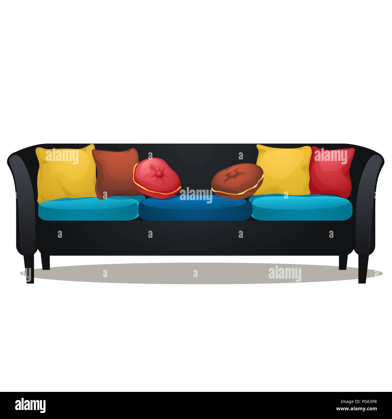 Black Sofa With Colored Soft Pillows Isolated On White Background