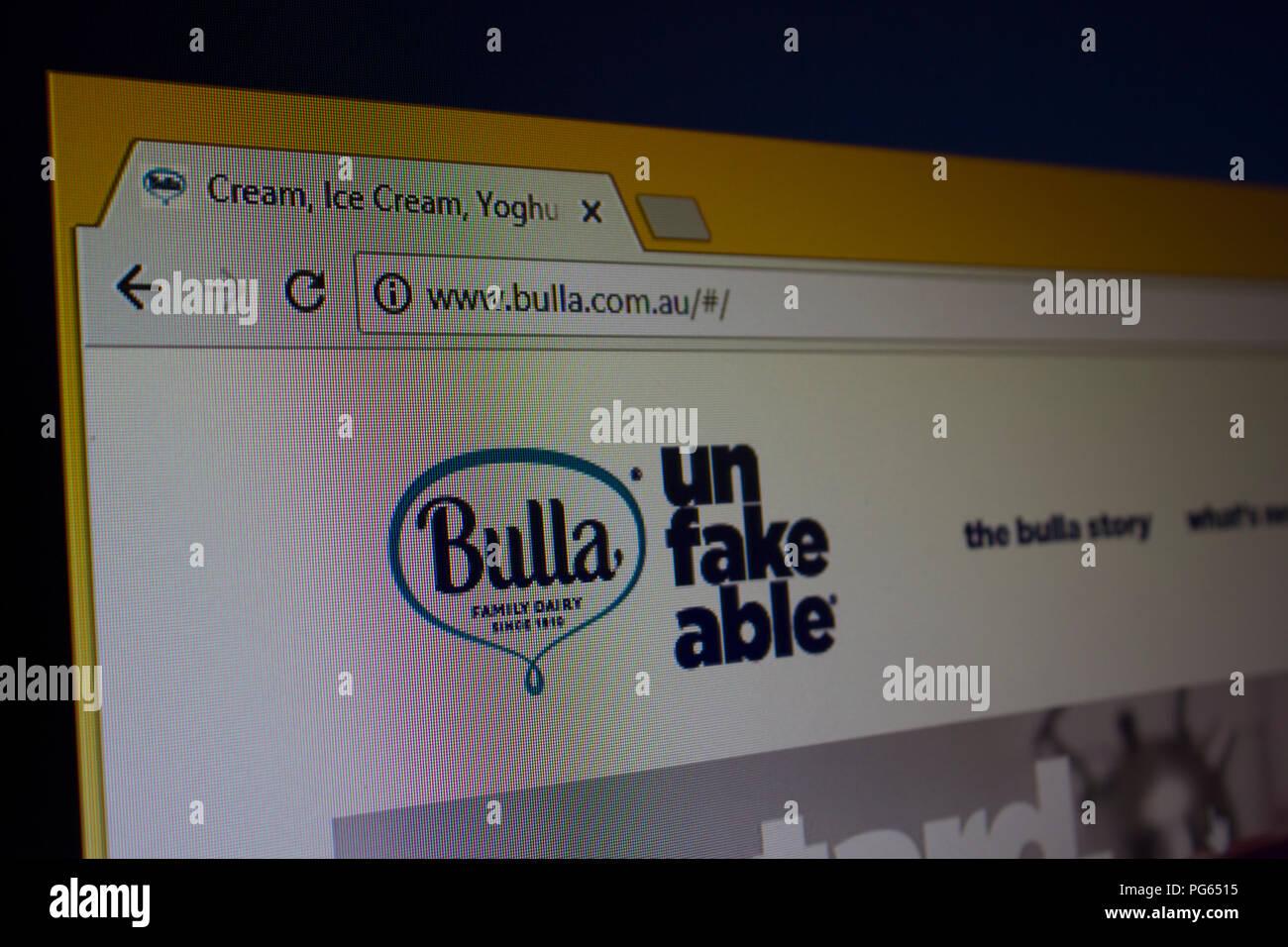 Bulla Website homepage - Stock Image
