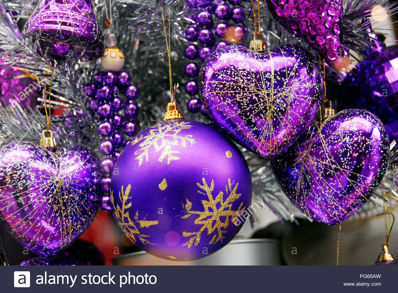 Blue Silver Colored Christmas Decoration Baubles With Texture On A Christmas Tree Stock Photo Alamy