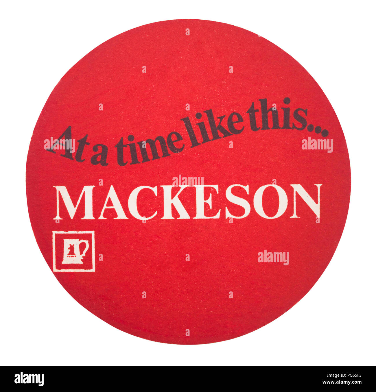 LONDON, UK - AUGUST 22, 2018: Mackeson paper beer beermat coaster isolated on white background. - Stock Image